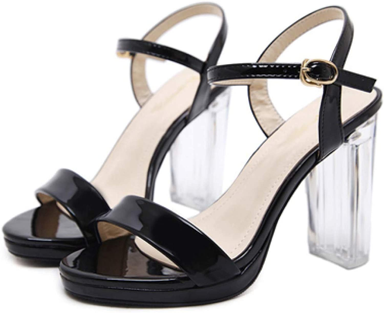 T-JULY Sandal for Women Open Toe Transparent Heel Sexy Ankle Strap Summer Fashion Breathable Ladies shoes