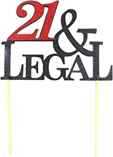 All About Details 21 & Legal Cake Topper, 1pc, Happy 21st Birthday, Party Decoration, Photo Props (Black & Red), 6 x 9, Bl...