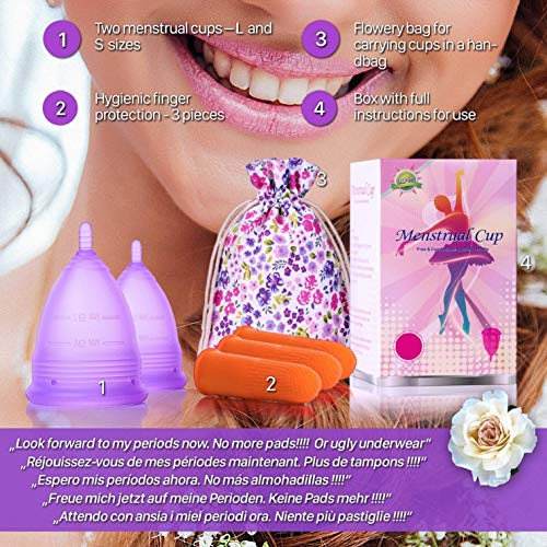 Melyth Menstrual Cups – (Large & Small) – Pre and Post Childbirth Reusable Period Cups – Find Your Perfect Fit – Best Alternative to Tampons and Cloth Sanitary Napkins - 3