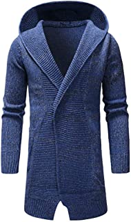 Mens Trench Coat Wool Jackets.Men's Hooded Solid Knit Trench Coat Jacket Cardigan Long Sleeve Outwear Blouse