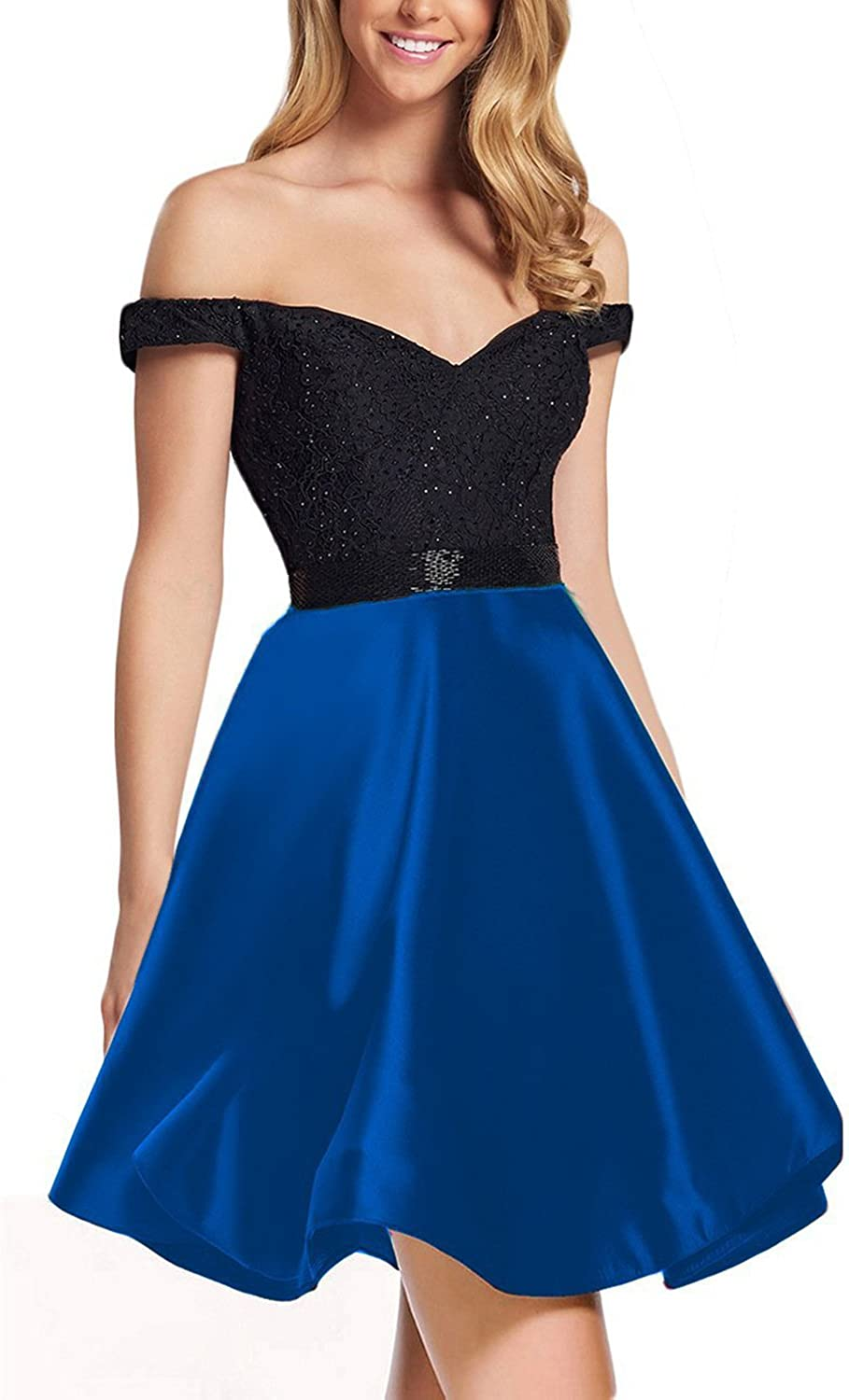 JoyVany Women Off Shoulder Homecoming Dresses Short 2018 Prom Gowns JH025