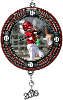 BANBERRY DESIGNS Baseball Picture Frame- Christmas Ornament Dated 2019 Keepsake - Sports Team Photo Holder Ornament