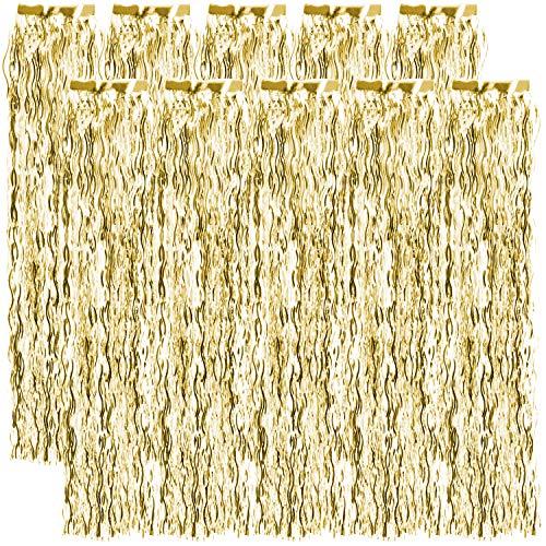 com-four® 10x Lametta gewellt - Lametta Girlande in goldfarben - Weihnachtsschmuck für den Christbaum - 50 cm (goldfarben - 10 Stück)