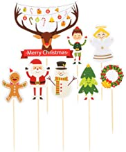 CLISPEED Cake Toppers 6 Pcs Christmas Party Cupcake Toppers Christmas Decoration Dessert Toppers Festive Food Fruit Picks ...