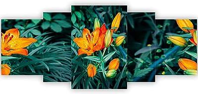 SAF Set of 5 Beautiful Flower UV Textured Home Decorative Item Painting 42 Inch X 18 Inch, Multicolor - SANFPNL31402