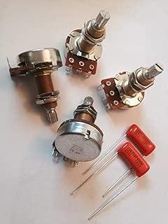 Bourns 500K Long Split Shaft Audio Taper Low Friction Potentiometers Set of Four (4X) & Pair of Orange Drop Capacitors