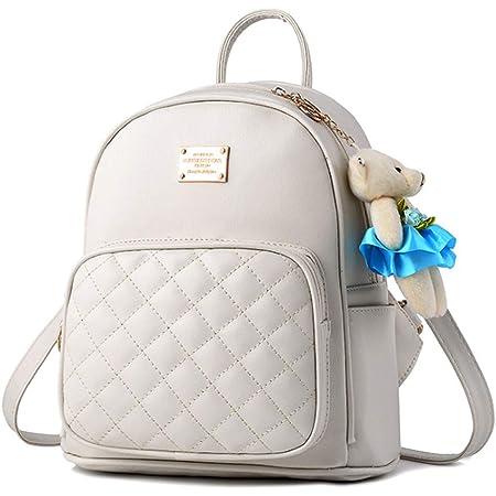 BAGZY Damen Rucksack Wasserdichte Leder Schultaschen Klein Daypacks Anti-Diebstahl Tagesrucksack Mini Schultertaschen Casual Umhängetaschen Mädchen Handtasche Weiß