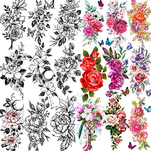TASROI 18 Sheets Sexy Flower Rose Temporary Tattoos For Women Girls Adults, Women Body Art Fake Arm Tattoo Stickers, Waterproof Moon Butterfly Black Floral Tattoo Temporary Orchid Dahlia Neck Tatoos
