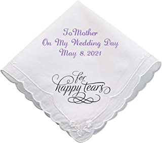 Personalized Embroidered Wedding Handkerchief for the Mother of Bride or Groom, Hankie