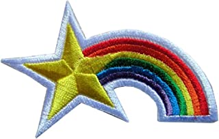Cute Pretty Star with Rainbow Color Bags Jeans Jackets Embroidered Iron on Patch Free Shipping