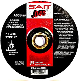United Abrasives-SAIT 22011 Type 27 4-Inch x .045-Inch x 5/8-Inch A60S General Purpose Depressed Center Grinding Wheels, 50-Pack