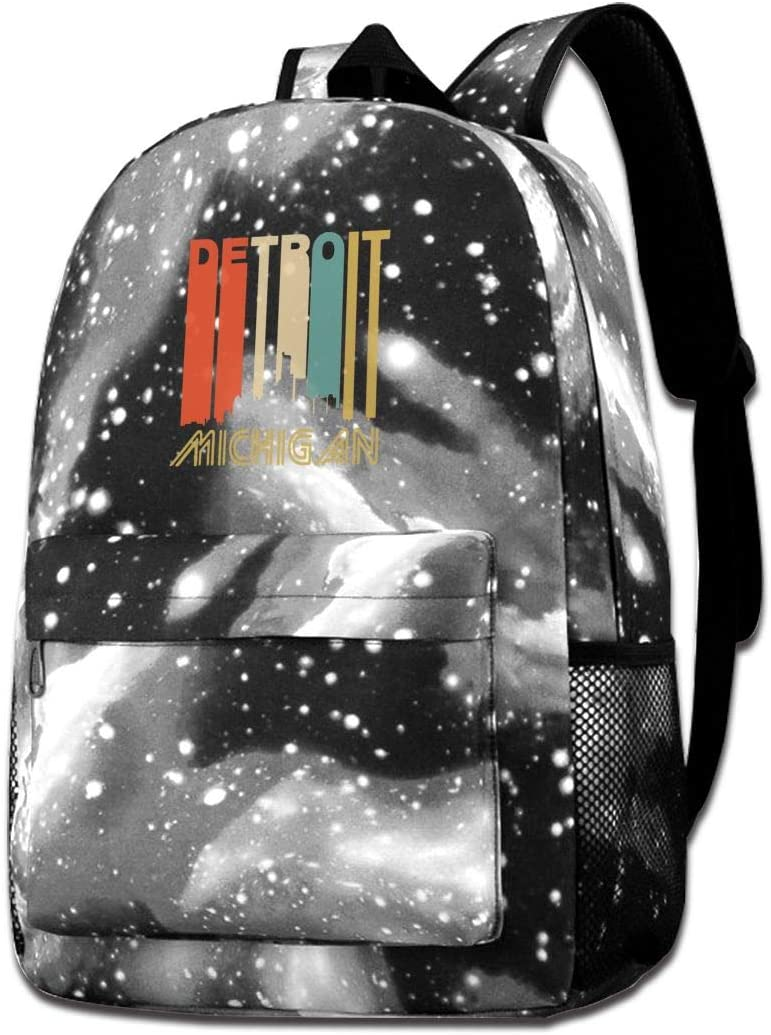 NFRRT Retro Style Detroit Michigan Skyline Galaxy Casual Daypack Blue Unisex Backpack Shoulder Bag for School Travel