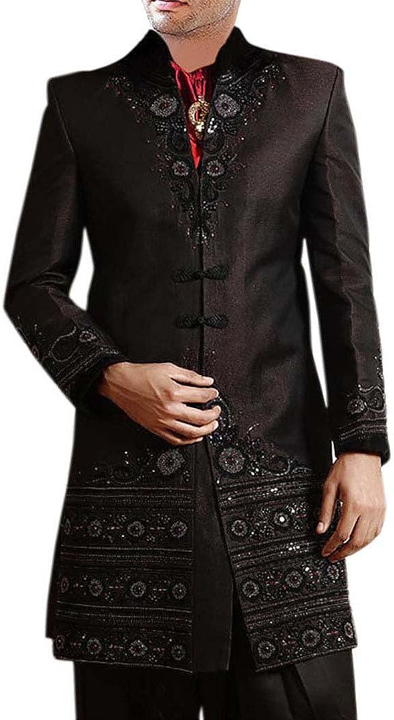 INMONARCH Mens Kurta for Jeans Black Indo Western Indian Wedding Sherwani IN0186