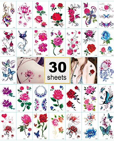 Flower Temporary Tattoo Stickers for Women, Kids, Men, Girls – 100+ Different Transfer Stickers, Fashion Fake Tattoos Waterproof, Tattoo Stickers with red pink rose, butterfly, heart
