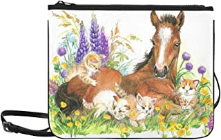 Horse And Kitten On Flower Meadow Foal Pattern Custom High-grade Nylon Slim Clutch Bag Cross-body Bag Shoulder Bag