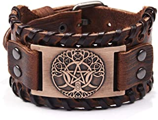 Bracelet Retro Handmade Braided Wide Genuine Leather Bracelet Bangle 3 Color Geometric Pattern Men Women Jewelry Birthday Christmas Present