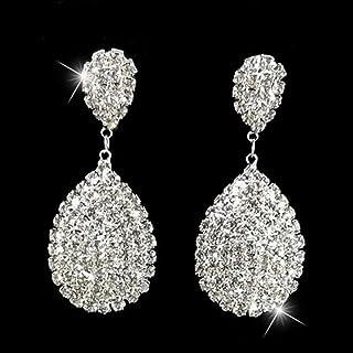 Lywljg Joyería Soldadura Diamantes de imitación Garra Cadena Gotas Stud Pendientes