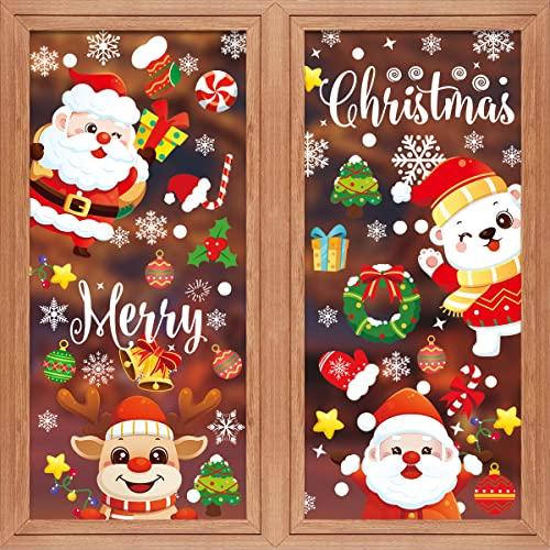 JUYANO Pegatinas de Navidad,8 Hojas de Pegatina Navidad para Ventanas Puerta Pared Vidrio Escaparates,Decoracion Navideña Reutilizable de PVC,Copos De Nieve Reno papá Noel Decoración Navideña de Hogar