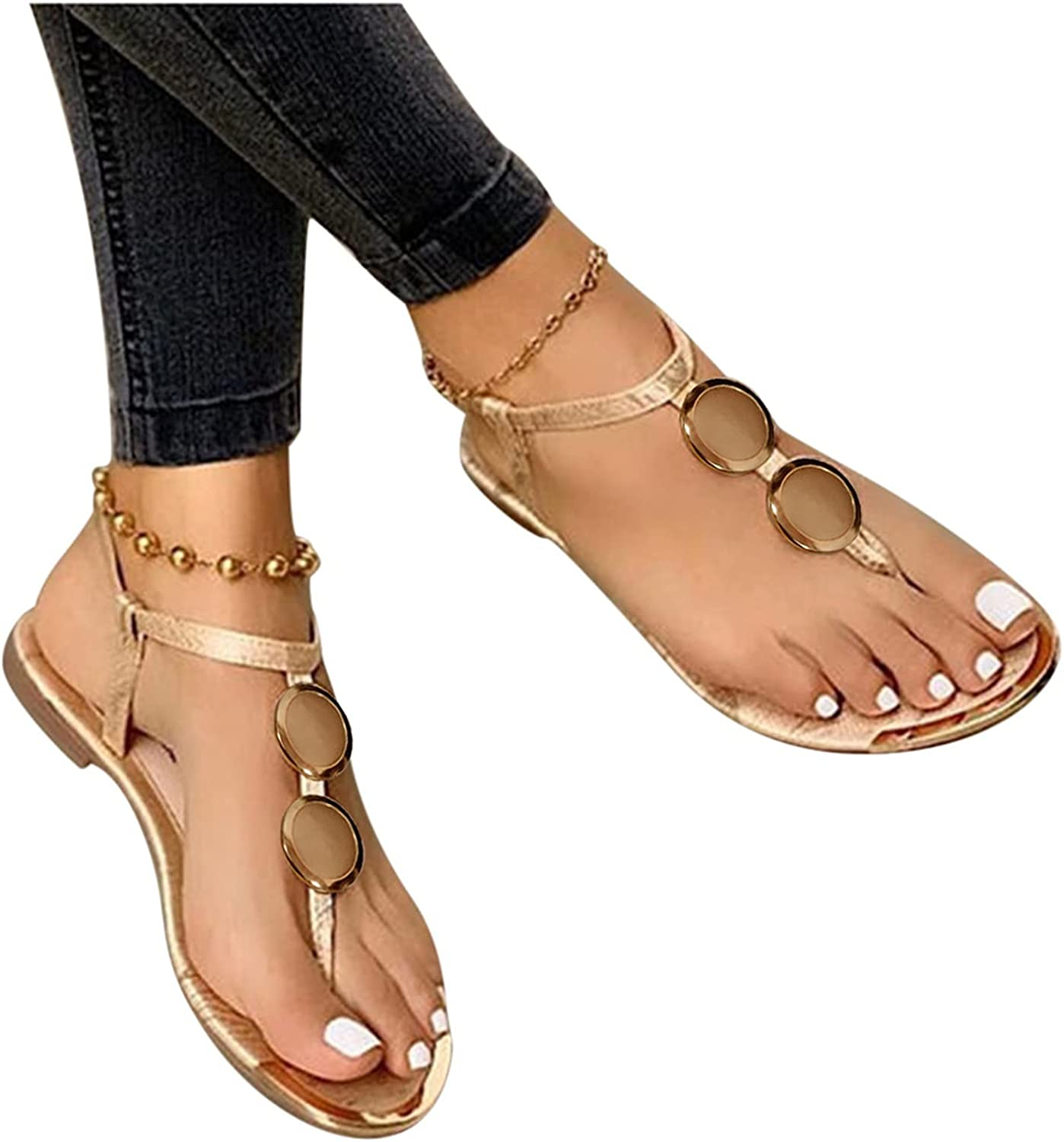 Sandals for Women,Rhinestone Bohemian Open Toe Flat Sandals Casual Outdoor Beach Travel Shoes Sandals