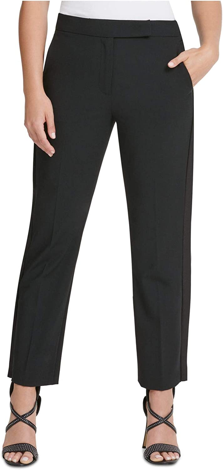 DKNY Womens Black Zippered Pocketed Straight Leg Wear to Work Pants Size 18