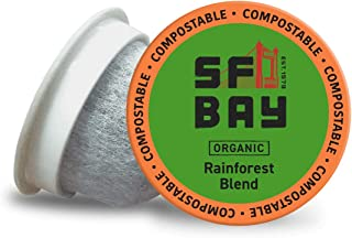 SF Bay Coffee Organic Rainforest Blend 80 Ct Medium Roast Compostable Coffee Pods, K Cup..