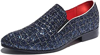 ZHANGLEI Retro Oxford for Men Smoking Loafers Slip on PU Leather Rubber Sole Anti-Slip Glittering Sequins Elastic Band Pointed Toe (Color : Blue, Size : 7.5 UK)