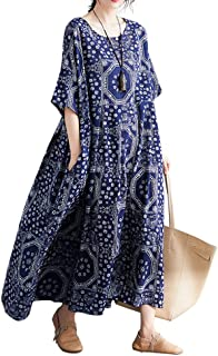 Women Loose Cotton Linen Dress Vintage Bohemia Dress Maxi...