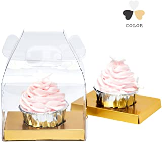 Yotruth Clear Christmas Cupcake Boxes Single With Handle and Gold Insert 40 Pack
