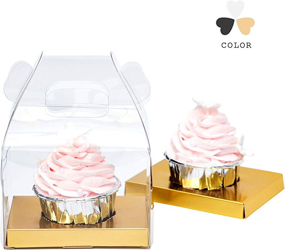 Yotruth Clear Cupcake Boxes With Glossy Gold Insert Christmas Gift Boxes 20 Pack For Dessert Boxes