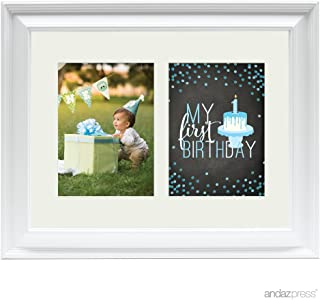 Andaz Press Double White 5x7-inch Photo Frame, My 1st Birthday, Boy, 1-Pack, Picture Gift Wall Art