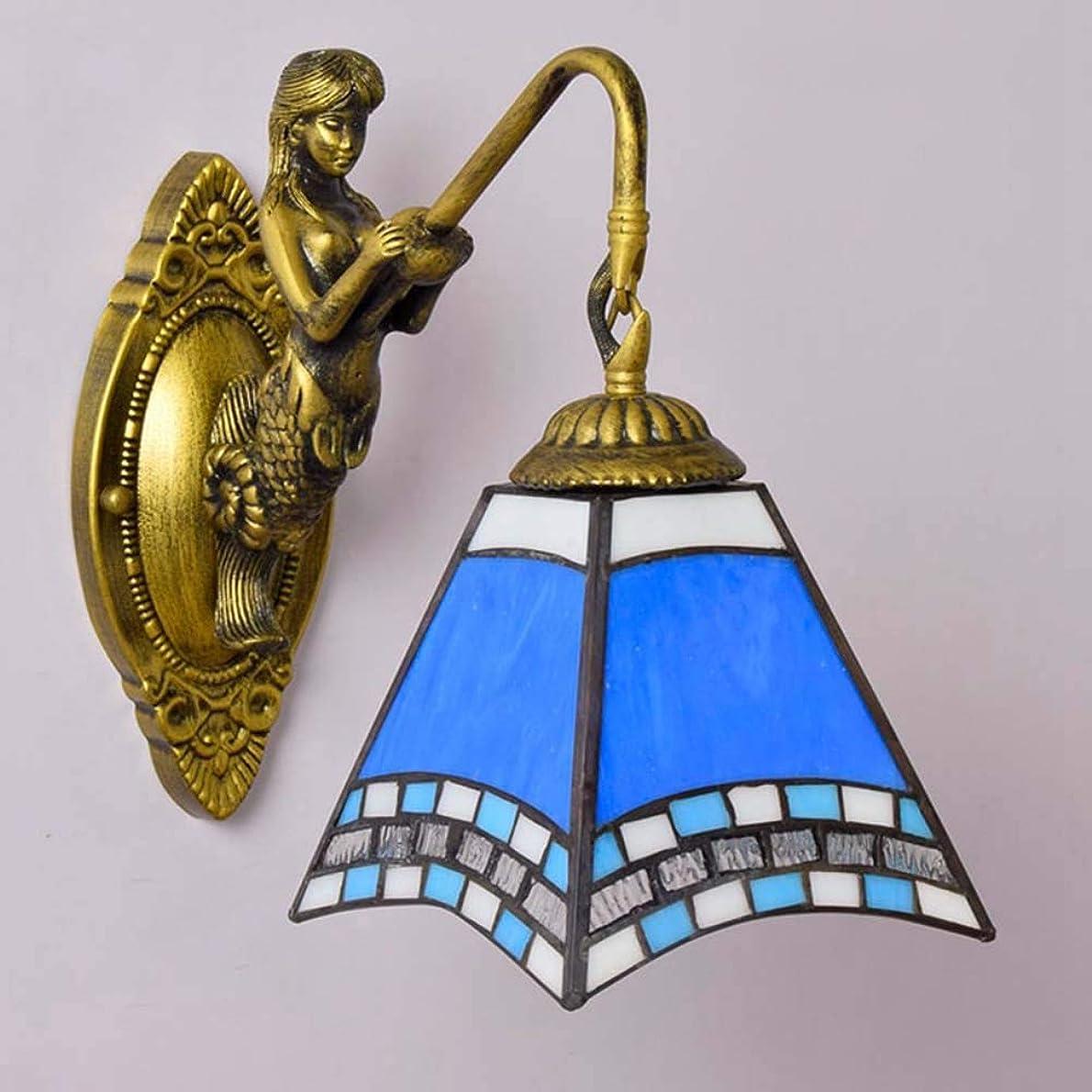 ジェスチャー構造ドル女神の基盤が付いているティファニー様式の壁の燭台/壁ライト、喫茶店クラブのための地中海のアゲハデザイン青いガラス壁ライト寝室ブラケット