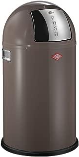 Wesco Pushboy Junior Waste Bin, Stainless Steel, 63聽x 35聽cm Warm Grey