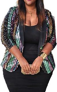 VERWIN Plus Size Jacket Sequin Three-Quarter Sleeve Color Block Coat Shawl Collar Women's Casual Blazer