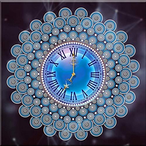 Wandklok Speciale Vorm Diamant Schilderij Klok 5D DIY Diamant Borduurwerk Mandala Bloemen Kwarts van Strass Woondecoratie 60x80cm CCF-1