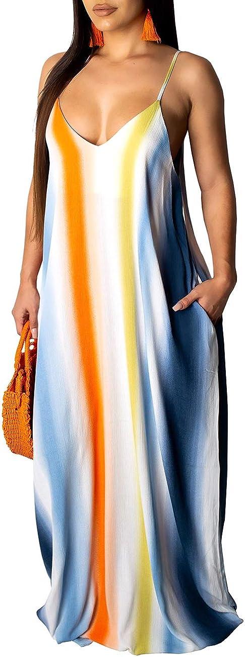 Womens Sexy Summer Long Maxi Maternity Dresses Plus Size Boho Sundress with Pockets