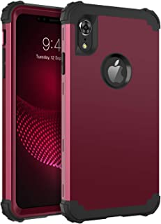 BENTOBEN iPhone XR Case, iPhone XR Phone Case, 3 in 1 Heavy Duty Rugged Hybrid Hard PC Cover Soft Silicone Bumper Impact Resistant Non-Slip Shockproof Protective Case for iPhone XR 6.1 Inch, Wine Red