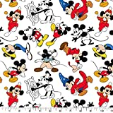 1/4 Yard - Mickey Mouse Through The Years Sewing Fabric 100% Cotton - Fat Quarter (18' x 21')