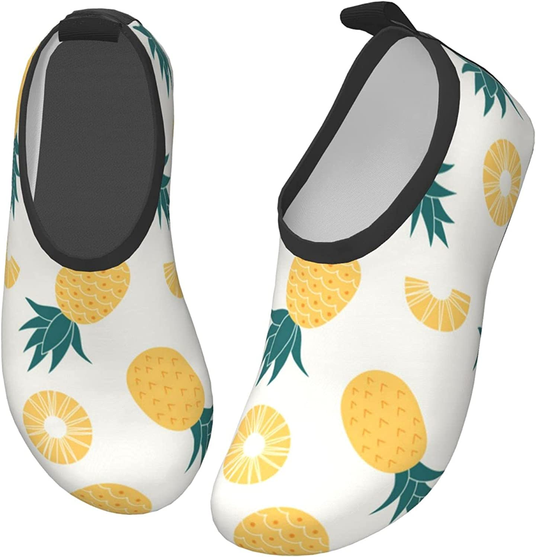 Azzwoiu Colorful Pineapple Pattern Kids Water Shoes Non-Slip Quick Dry Lightweight Swim