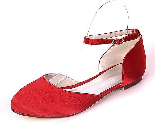 YUGUO Talons Hauts Printemps Et été Sandales Sandales Baotou Mot Femme Boucle Grande Taille Chaussures à Semelle Plate De La Tête De La Mode Chaussures De Danse De Satin  dégagement jusqu'à 70%