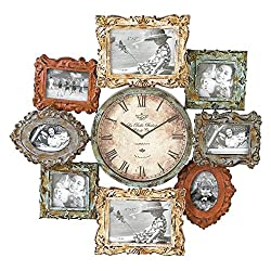Deco 79 Rustic Metal Photo Frame Wall Clock, 25x25, Distressed Multi-Colored Finish