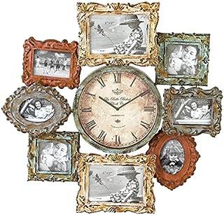 "Deco 79 Rustic Distressed Metal Photo Frame Wall Clock, 25""x25"", Multi-Colored Finish"