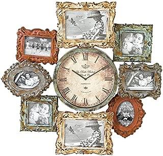 Deco 79 Rustic Distressed Metal Photo Frame Wall Clock, 25