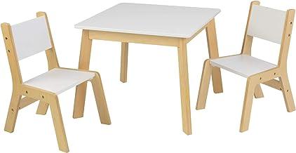 KidKraft Bordsset med 2 vita spelbord med två stolar modern design för barn, MDF, trä