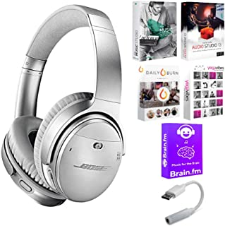 Bose QC 35 Series II Silver Noise Cancelling Headphones with Software Suite & USB-C Adapter Bundle (4 Items)