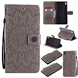guran® custodia in pelle per sony xperia xa ultra smartphone avere carta slot supporto protettiva flip case cover-grigio