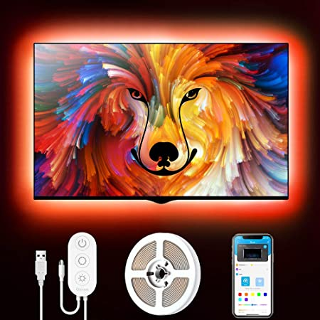 Govee Tira LED TV 2m, Luces LED RGB USB Retroiluminación Bluetooth Control de App y Caja de Control, 16 Millones de Colores, Modo de Escena y DIY para TV 40-60 Pulgadas, Computadora y Cine en Casa