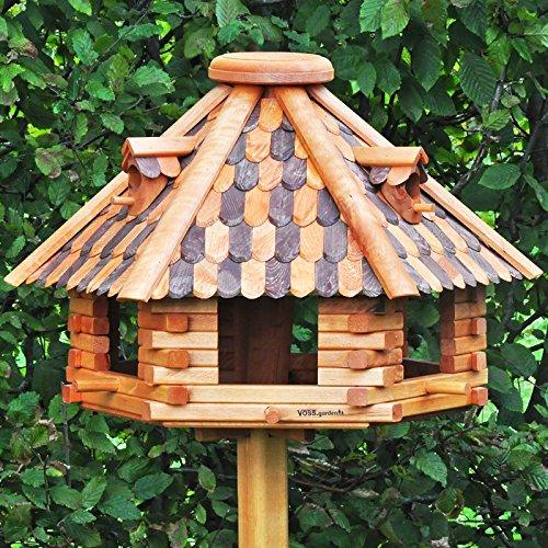 VOSS.garden Großes Vogelhaus Herbstlaub, Imprägniertes Holz, 50cm Durchmesser Futterplatte, Mit Sitzstangen für Vögel, Vogelhaus Vogelvilla Futtervogelstation