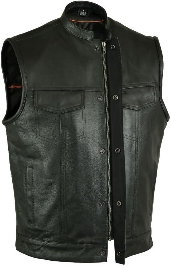 VANCE Men's Motorcycle Son of Anarchy Style Leather Vest W/Gun Pockets, Zipper Naked (L Regular)