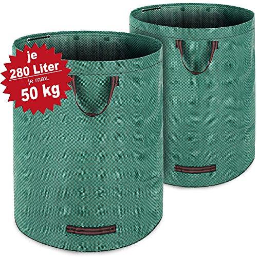 Deuba Gartenabfallsack Laubsack 2 x 280 Liter = 560L bis zu 50kg belastbar zusammenfaltbar Gartensack Gartentasche Rasensack