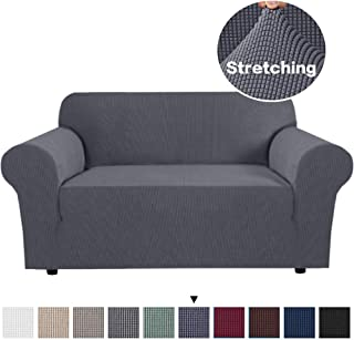PrimeBeau Spandex Stretch Slipcover for Sofa Cover/Lounge Cover Stretch Anti-Wrinkle Slip Resistant Form Fit Slipcover 2 Seater Sofa Cover Durable Spandex Stretch Fabric Super Soft Slipcover, Gray